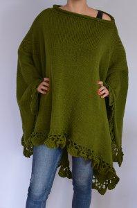 Ponczo Narzutka Sweter Wełniane Zielone Ciepłe