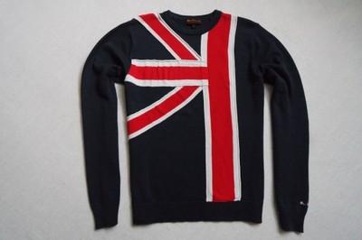BEN SHERMAN sweter sweterek granatowy logo flaga_S