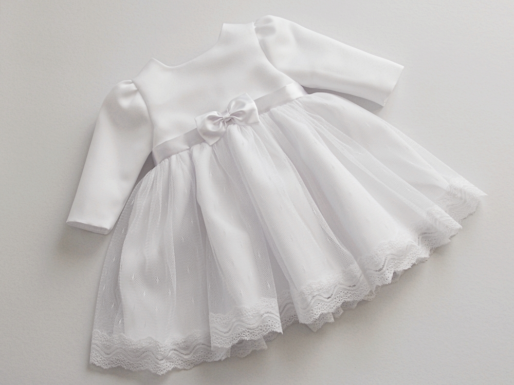 46d66d2a16 AMY - sukienka do chrztu z długim rękawem r. 74 - 6989782435 ...