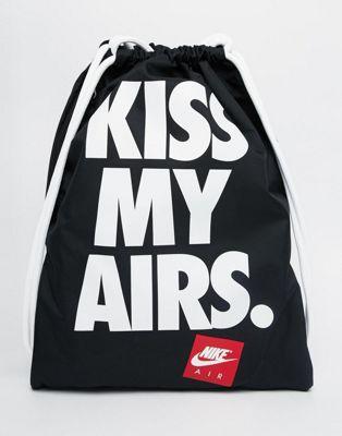 SPORTOWY WOREK NIKE KISS MY AIRS czarny szkolny WF