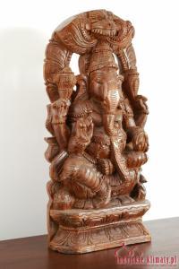 Indyjska rzeźba w drewnie GANESHA