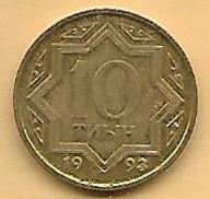 KAZACHSTAN - 10 TIYN - 1993 ŻÓŁTA