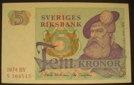 Szwecja - 5 koron - 1974 - stan UNC -