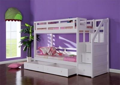 łóżko Piętrowe Ze Schodamimaterace 160x80cm Białe 6787892392