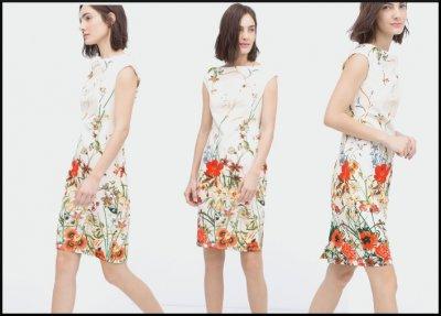 zara.sukienka 2016.kwiaty falbanka.koronka