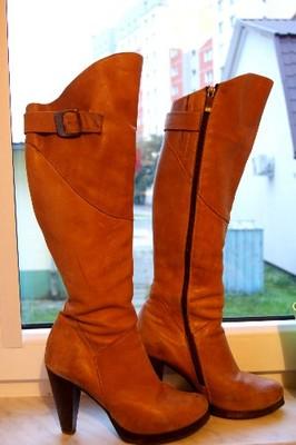 Kozaki damskie buty skórzane roz. 37 na obcasie