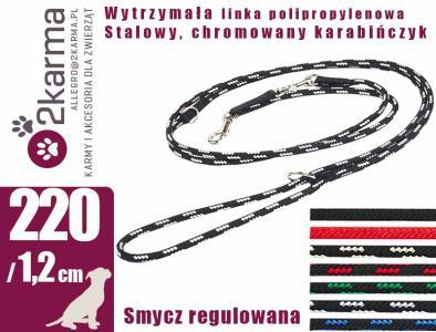 Smycz LINKA regulowana WYTRZYMAŁA PIES 220cm /12mm