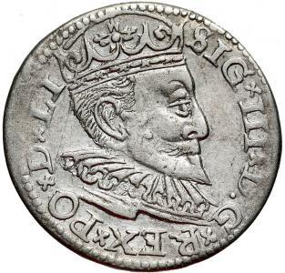 1118.  Zg.III Waza, Trojak, Ryga 1596, st.3+