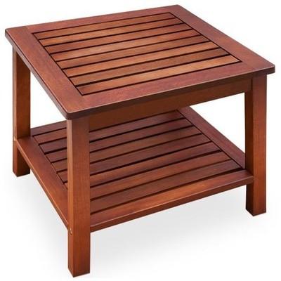 Drewniany Mały Stolik Ogrodowy 45x45 Cm Z Półką 6855825964
