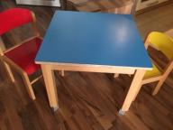 Stolik regulowany krzesełka drewno Wawa bartycka
