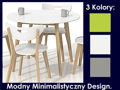 Stół Biały Zielony Okrągły Drewniany Ikea Stolik