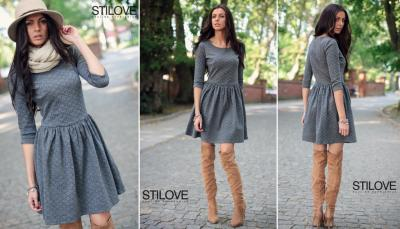 fa00f94a7a STILOVE rozkloszowana SZARA sukienka DZIANINA XL - 4685036409 ...