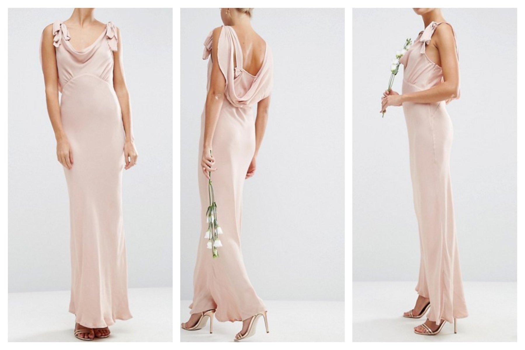 eed41a9306 mo34 sukienka satynowa różowa wesele maxi 36 - 7035091394 ...