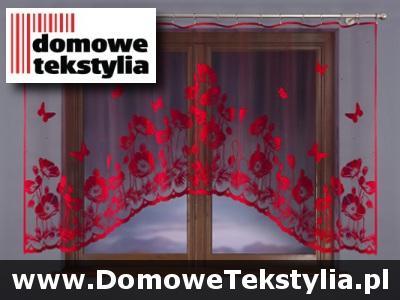 Firanki Firana Czerwone Maki 300x150 Pokój Kuchnia