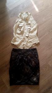 Komplet RESERVED spodnica i bluzka z żabotem r 36