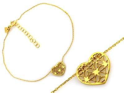 Złota bransoletka celebrytka 585 ażurowa SERCE