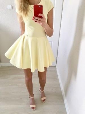 9b30eaa059 Cytrynowa żółta rozkloszowana sukienka S.Moriss XS - 6858274618 ...
