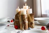 Świąteczny zestaw świeczników, rękodzieło