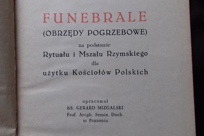 Funebrale Obrzędy Pogrzebowe G. Mizgalski 1955