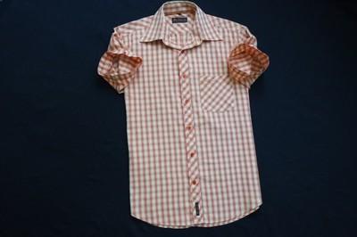 BEN SHERMAN koszula pomarańczowa kratka logo___S/M