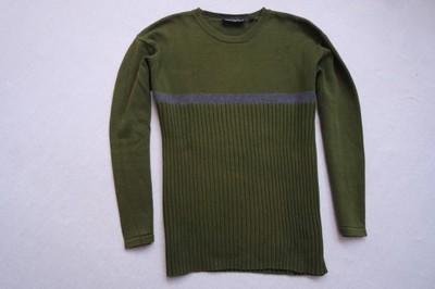 COTTONFIELD sweter sweterek zielony paski logo___L
