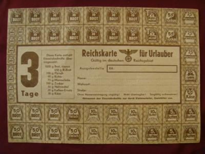 kartka żywnościowa z czasów okupacji 20 x 14 cm.