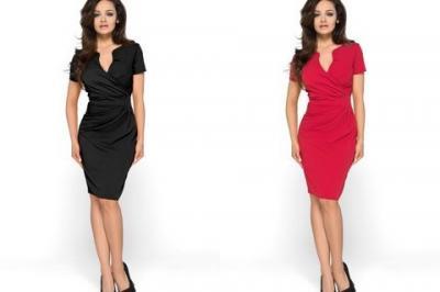 adf515a789 Sukienka z kopertowym dekoltem KM56 Plus size 52 - 4768652603 ...