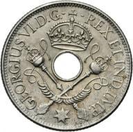 NOWA GWINEA, JERZY VI, 1 SZYLING 1938 st.2- srebro