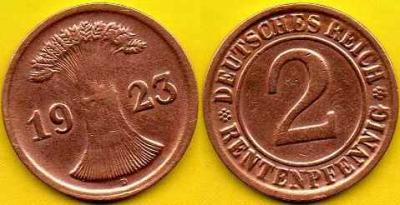 NIEMCY  2 Rentenpfennig  1923 r  D