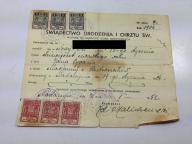 ŚWIADECTWO URODZENIA I CHRZTU 1904 NADARZYN 1951