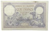 25.Algieria, 100 Franków 22.05.1933 rzadki, St.3-