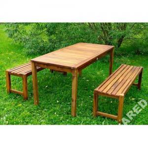 Komplet mebli ogrodowych, stół + 2 ławki z akacji