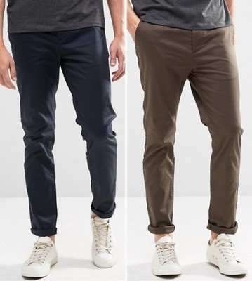 f68 spodnie exASOS 2pak slim chinos modne W28 L32