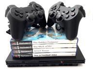 KONSOLA PS2 + 4 GRY/DWA PADY/KARTA PAMIĘCI 64 MB