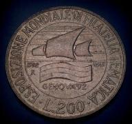 522. Moneta 200 lir 1992 Wystawa Włochy
