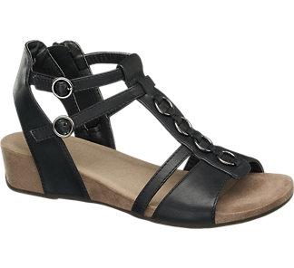 Deichmann sandały damskie na koturnie czarne