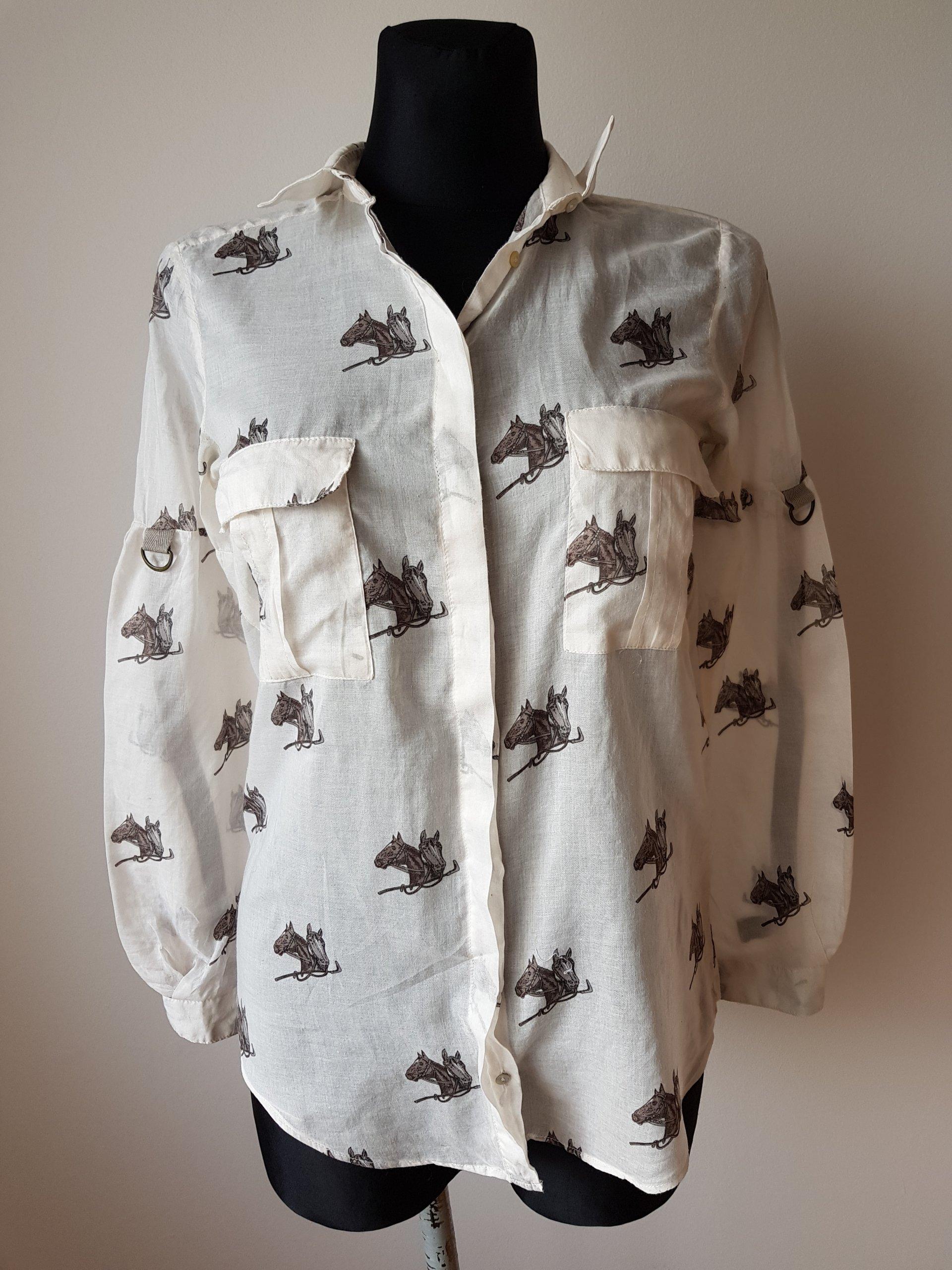 ZARA Beżowa koszula w konie 36 S 7015524413 oficjalne  orWzj