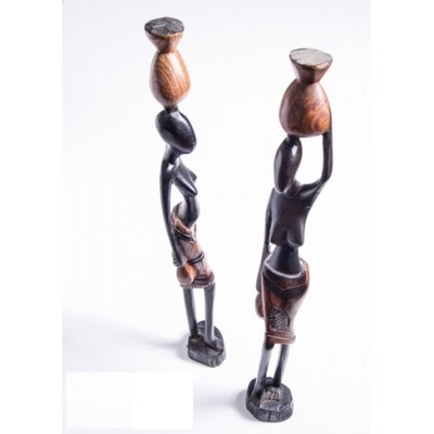 figurka kobieta z dzbanem AFRYKA GAMBIA drewno