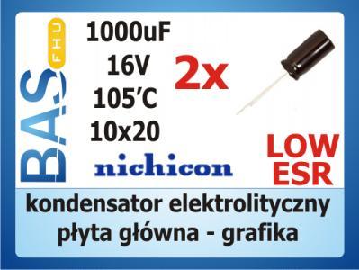 Kondensator 1000uF/16V nichicon seria PW _ 2 szt