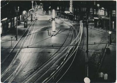 Bytom nocą Plac Kościuszki noc 1969r