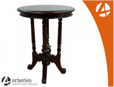 Mały Stolik Kawowy Okrągły Stylizowany Drewniany 5848438633