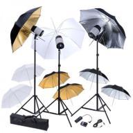 190061 vidaXL Zestaw studio: 3 lampy, 9 parasolek