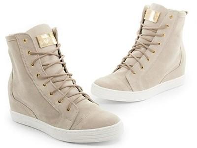Saway botki sneakersy na koturnie włoska skóra Zdjęcie na