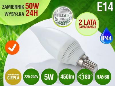 Żarówka E14 10 LED SMD PŁOMYK 5W 450lm=50W RA>8