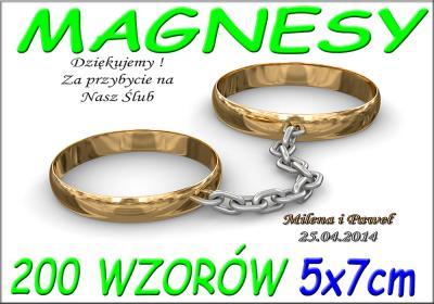 PODZIĘKOWANIA ŚLUBNE NA ŚLUB FOTO MAGNES - 10 szt.