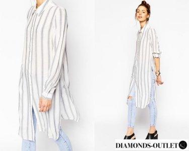 Długa koszula tunika z rozcięciem ASOS NEW! 6068329904  wApuJ