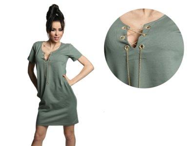 543a87abe3 TUNIKA dresowa sukienka ŁAŃCUSZEK tuba 490 KHAKI - 6778098338 ...