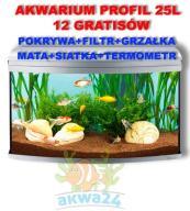 AKWARIUM 25L PROFIL POKRYWA SREBRNA+12gratisów