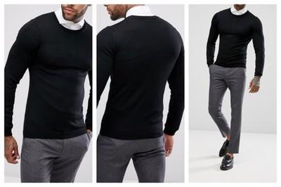 ml56 sweter męski czarny wełniany elegancki XXXS