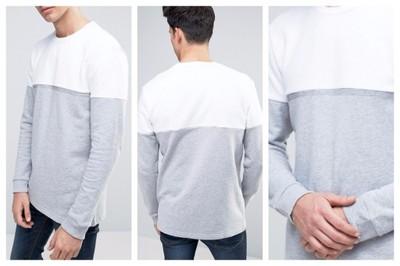 ml83 bluza męska szara biała prosta przez głowę S